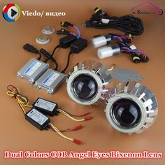 117.99$  Buy here - http://alif9c.worldwells.pw/go.php?t=32676567336 - 2.5 inch Double COB Angel Eyes Halo HID Bi xenon Projector Lens Headlight Lamp Lenses Retrofit Full Kit DRL with Turn Signal 117.99$
