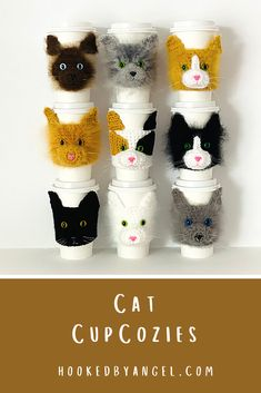 These adorable cat coffee cup cozies are the purr-fect cat people gift! Picture the recipient walking around town, sipping a warm or cold beverage with cozy on their cup! They will be the envy of anyone who is cat obsessed!