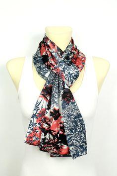 Shibori Scarf - Blue Shibori Scarf - Red Shibori Scarf - Silk Satin Scarf - Unique Fabric Scarf - Women Fashion Scarf - Printed Boho Scarf