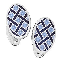 Light Blue with Navy Oval Criss Cross Enamel Cufflinks