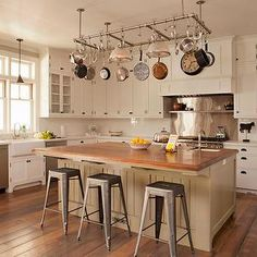 Pot Rack Over Island, Cottage, kitchen, Tim Barber