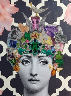 Fornasetti inspired original decoupage framed by Lorypalomi Italian Painters, Italian Artist, Collages, Collage Art, Illustrations, Graphic Illustration, Piero Fornasetti, Fornasetti Wallpaper, Pink Peonies