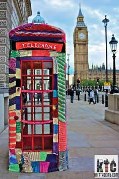 """Yarnstorming: the art of enhancing a public place or object with graffiti knitting or crochet (and running away giggling)"""