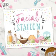 Facial Station Sign, Spa Sign, Digital File, Printable, Pajama Party, Sleepover Party, Pancakes and Pajamas Party, Morning party, Spa Party Spa Sleepover Party, Pajama Birthday Parties, Girl Spa Party, Spa Birthday, Carnival Birthday Parties, Birthday Party Games, Pajama Party, Slumber Parties, Turtle Birthday