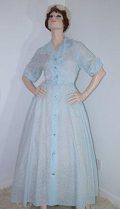 Vintage 1950s Full Skirt Dress / 50s Light Blue Atomic Print