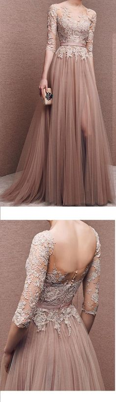 Charming Prom Dress Half-Sleeves Appliques tulle Evening Dress