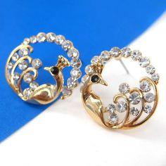 $8 Round Peacock Bird Animal Stud Earrings in Gold with Rhinestones