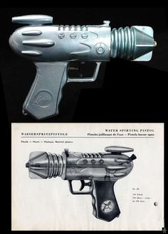 Space Guns - WASSERSPRITZPISTOLE SPACE WATER PISTOL - GEOBRA - W GERMANY - ALPHADROME ROBOT AND SPACE TOY DATABASE