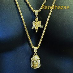 "ICED OUT MINI ANGEL & JESUS MICRO PENDANT 24"" 30"" ROPE CHAIN COMBO NECKLACE #8"