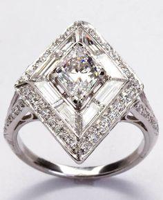 Trendy Diamond Rings :    Art Deco Diamond Engagement Ring  - #Rings https://youfashion.net/wedding/rings/diamond-rings-art-deco-diamond-engagement-ring/