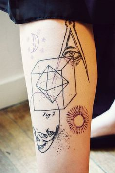 Interesting and unique collage of several different 3D geometric shapes, a skull and a sun. Image via pinterest.