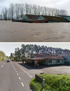 A composite image showing the A361 near East Lyng in Somerset before and after the recent heavy flooding. The road side store and workshop i...