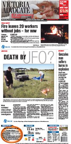 Here is the front page of the Victoria Advocate for Wednesday, Oct, 9, 2013. To subscribe to the award-winning Victoria Advocate, please call 361-574-1200 locally or toll-free at 1-800-365-5779. Or you can pick up a copy at one of the numerous locations around the Crossroads region.