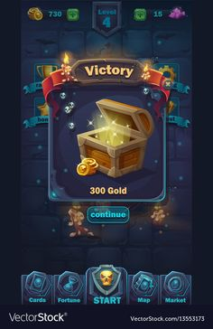 Illustration about Monster battle GUI victory window - vector cartoon illustration game user interface - background horrible Halloween wall. Illustration of item, field, interface - 88105860 Game Ui Design, App Design, Wireframe, Game 2d, Game Interface, Gambling Games, Ui Design Inspiration, Game Icon, Game Concept