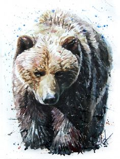 Illustration about Bear watercolor animals painting art. Illustration of grizzly, background, drawn - 89297166 Bear Watercolor, Watercolor Paintings Of Animals, Bear Paintings, Cross Paintings, Painting Art, Ours Grizzly, Urso Bear, Bear Sketch, Bear Tattoos