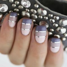 Purple Ombre Stripe Nails with Metallic Silver Stripes using striping tape #SS15 #nailart...x