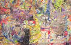 """Original ABSTRACT Painting """"A Part to Play """" [24x38] Pastel and colored pencil on paper, mounted on stretched canvas"""
