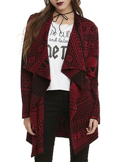 Iron Fist Black Red My Christmas Sweater Girls Flyaway CardiganIron Fist Black Red My Christmas Sweater Girls Flyaway Cardigan, DARK RED
