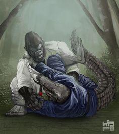 Gorila vs. Cocodrilo bajo reglas de BJJ