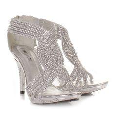 23fb613e99c Silver womens ladies diamante wedding high heel prom shoes sandals size 3-8