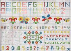 alphabet coloré - toutes-les-grilles.com grilles gratuites point de croix crochet tricot amigurumi Cross Stitch Alphabet, Cross Stitch Samplers, Cross Stitching, Images Aléatoires, Embroidery Fonts, Knitting Designs, Plastic Canvas, Crochet, Free Printables