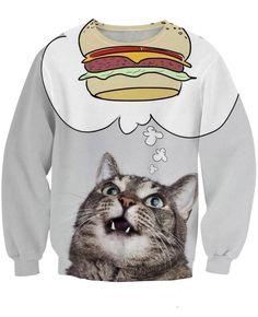 Super Cute Fat Burger Cat All Over Print Timeless 3D Sweatshirt #Super #Cute #Fat #Burger #Cat #AllOverPrint #Timeless #3D #Sweatshirt