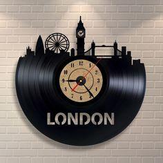 London art clock made of vinyl record, London skyline, London underground, London decor, London wall art, London England, by Vinylastico on Etsy https://www.etsy.com/listing/256740692/london-art-clock-made-of-vinyl-record