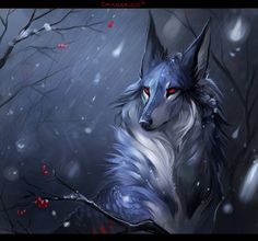 Melluk by Darenrin on DeviantArt Mystical Animals, Mythical Creatures Art, Magical Creatures, Fantasy Creatures, Anime Wolf, Fantasy Wolf, Fantasy Art, Animal Sketches, Animal Drawings