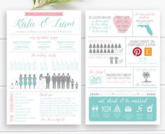Fun Info Graphic Wedding Program with silhouettes – Front & Back Vertical Layout, Infographic, Design 27 - Fun Wedding Destination Wedding, Wedding Planning, Wedding Venues, Wedding Ideas, Wedding Stuff, Unique Wedding Programs, Budget Wedding, Wedding Signs, Luxury Wedding