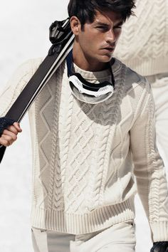 classic white knitted winter ski pullover  Men's fashion and style