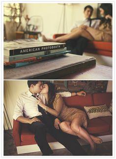 romantic retro engagement session