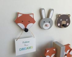 These handcrafted Wooden Animals Wall Hooks will add fun and function to woodland themed nursery or a childs room. DIMENSIONS: Bear: 5 x 4 x Fox: 5 x 5 x Bunny: 6 x 4 x INCLUDES Brown Bear, Orange Fox and Gray Bunny WOOD: Each animal is hand cut by me (no Nursery Wall Hooks, Fox Nursery, Woodland Nursery Decor, Animal Nursery, Childrens Room Decor, Baby Decor, Kids Decor, Decor Ideas, Fun Ideas