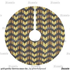 gold gatsby chevron xmas christmas tree skirt
