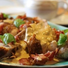 Pork with blue cheese and bacon, excellent Sunday dinner