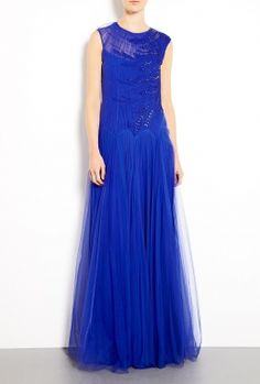 Cobalt Tulle Ophira Shearing Embroidered Dress by Catherine Deane