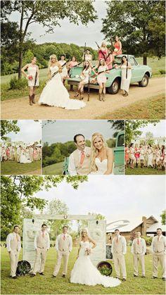 Shabby-chic-barn-wedding-party