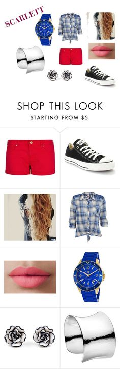 """Scarlett - School"" by slytherindemigod ❤ liked on Polyvore featuring MANGO, Converse, LORAC, Swiss Legend and Georg Jensen"
