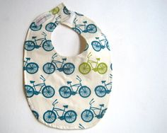 BABY BIB Organic Bicycles in the City for Boys Girls Kitchen Food - Eco Friendly Teething Bib by SewnNatural on Etsy https://www.etsy.com/listing/96228934/baby-bib-organic-bicycles-in-the-city