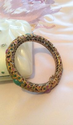 RESERVED Indian Emerald Ruby Bangle Bracelet Vintage Bridal Jewelry on Etsy, £194.75