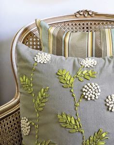 Ribbon embroidered pillow. Beautiful