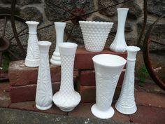 Vintage White Milk Glass  Bud Vases Shabby by vintagepurveier, $45.00