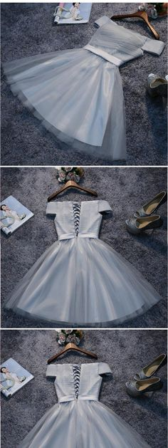 Off-The-Shoulder Lace Up Grey Tulle Homecoming Dresses , Short Prom Dresses Dama Dresses, Hoco Dresses, Lace Evening Dresses, Modest Dresses, Strapless Dress Formal, Unique Homecoming Dresses, Cheap Short Prom Dresses, Trendy Dresses, Grey Short Dresses