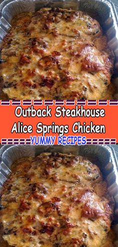 One of the most popular menu items at Outback Steakhouse (despite the fact that it's a STEAKhouse) is their Alice Springs Chicken. Who can resist grilled chicken with sautéed mushrooms, Meat Recipes, Chicken Recipes, Cooking Recipes, Recipies, Copykat Recipes, Baked Chicken, Outback Steakhouse, Smoothie Detox, Chicken And Waffles