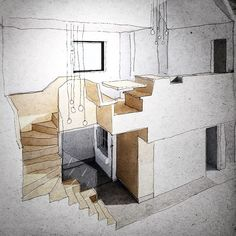 Staircase cupboard dining-table kitchen as inserted furniture concept sketch.   TParsons.co.uk Architecture design illustration art drawing sketch
