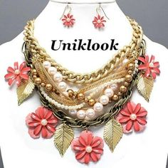 Chunky Layered Chains Pink Flowers Beads Pearl Statement Necklace Earrings Set
