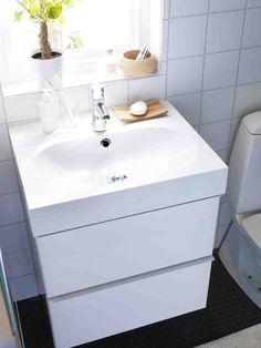 Bathroom, Appealing White Bathroom Design For Small Space Feats Mounting Ikea Bathroom Sink Vanity ~ Cool IKEA Bathroom Sinks Ideas in Trough Placement Way Ikea Bathroom Sinks, Bathroom Sink Cabinets, White Vanity Bathroom, Bathroom Black, Bathroom Ideas, Bathrooms, Ikea Bathroom Accessories, Home Improvement Companies, Vanity Design