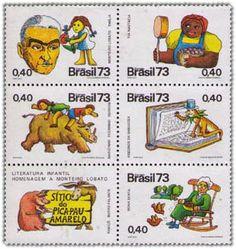 selos brasileiros sobre escritor infantil Monteiro Lobato