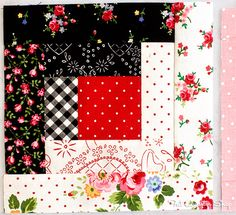 Back to School with Pam Kitty: Row 4 - Fat Quarter Shop's Jolly Jabber log cabin block