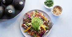 Shredded Thai Salad with Avocado Recipe - PureWow Unique Recipes, Easy Dinner Recipes, Ethnic Recipes, Easy Dinners, Vegetarian Recipes, Healthy Recipes, Healthy Foods, Yummy Recipes, Salads