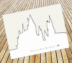 Harry Potter Inspired Hogwarts Minamalist Postcard Print - Home is where the heart is